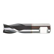 Fresa in metallo duro standard TA1402, rivestita Nano TiAlN, elica 30°, extra corta per cave, 3 taglienti, con attacco weldon
