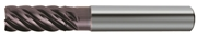 Fresa in metallo duro ad alte prestazioni TA1440, rivestita Nano TiAlN, elica 44/45/46° a passo differenziato, 6 taglienti, corta per super finiture in contornatura
