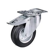 Ruota con nucleo in lamiera stampata e zincata, con supporto rotante a piastra e freno totale anteriore