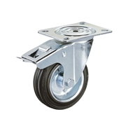 Ruota con nucleo in lamiera stampata e zincata, con supporto rotante X Line a piastra e freno totale anteriore