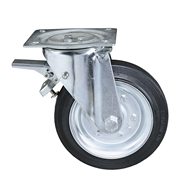 Ruota con nucleo in lamiera stampata e zincata, con supporto rotante a piastra e freno totale posteriore