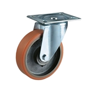 Ruota con nucleo in ghisa, con supporto rotante a piastra in lamiera stampata e zincata, serie media