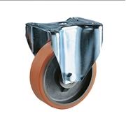 Ruota con nucleo in ghisa, con supporto fisso a piastra in lamiera stampata e zincata, serie media