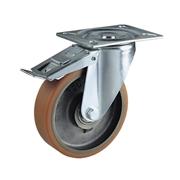 Ruota con nucleo in ghisa, con supporto rotante a piastra in lamiera stampata e zincata, serie media, con freno totale anteriore
