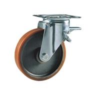 Ruota con nucleo in ghisa, con supporto rotante a piastra in lamiera stampata e zincata, serie media, con freno totale posteriore