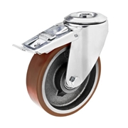 Ruota con nucleo in ghisa, con supporto rotante a foro centrale in lamiera stampata e zincata, serie media, con freno totale anteriore