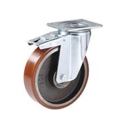 Ruota con nucleo in ghisa, con supporto rotante a piastra in lamiera stampata e zincata, serie pesante