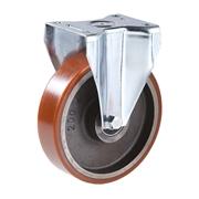 Ruota con nucleo in ghisa, con supporto fisso a piastra in lamiera stampata e zincata, serie pesante