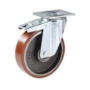 Ruota con nucleo in ghisa, con supporto rotante a piastra in lamiera stampata e zincata, serie pesante, con freno totale anteriore