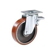 Ruota con nucleo in ghisa, con supporto rotante a piastra in lamiera stampata e zincata, serie pesante, con freno totale posteriore